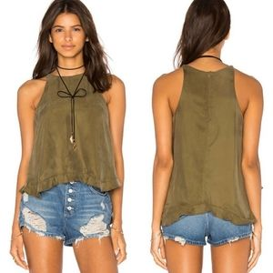 Line & Dot Musee Frill Top Olive Green Sleeveless